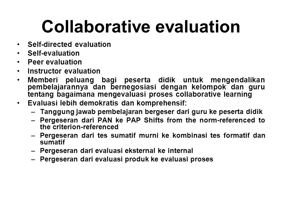 Collaborative evaluation