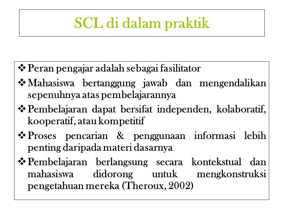SCL di dalam praktik Peran pengajar adalah sebagai fasilitator