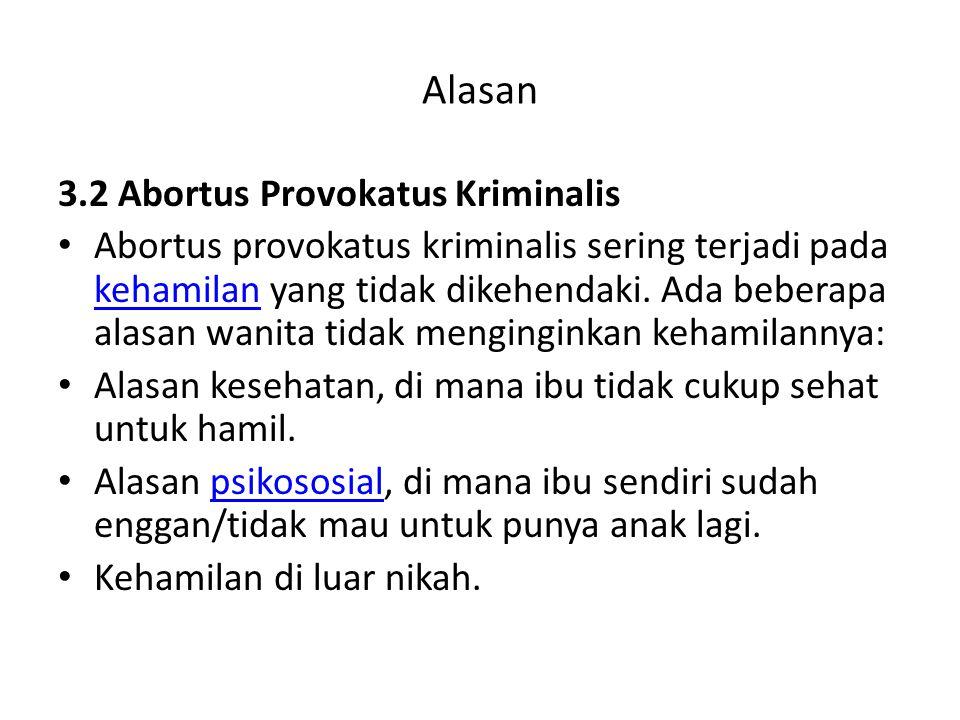 Alasan 3.2 Abortus Provokatus Kriminalis
