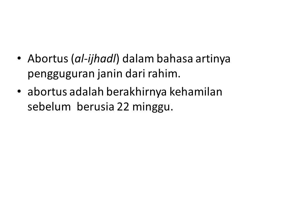 Abortus (al-ijhadl) dalam bahasa artinya pengguguran janin dari rahim.