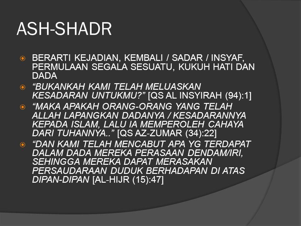 ASH-SHADR BERARTI KEJADIAN, KEMBALI / SADAR / INSYAF, PERMULAAN SEGALA SESUATU, KUKUH HATI DAN DADA.