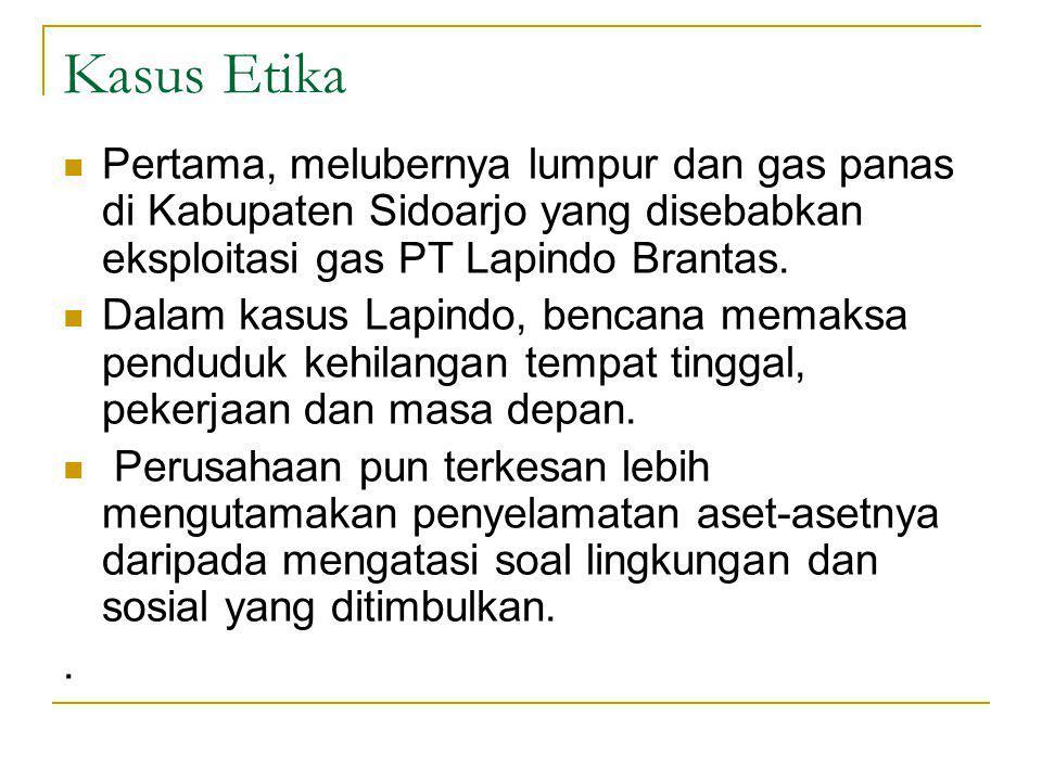 Kasus Etika Pertama, melubernya lumpur dan gas panas di Kabupaten Sidoarjo yang disebabkan eksploitasi gas PT Lapindo Brantas.