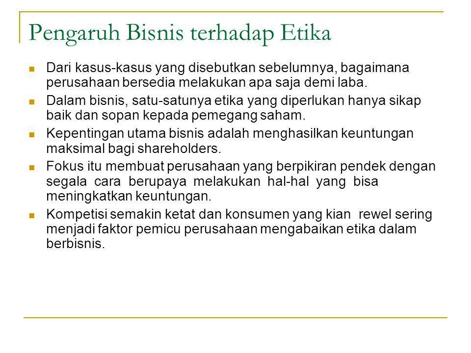 Pengaruh Bisnis terhadap Etika