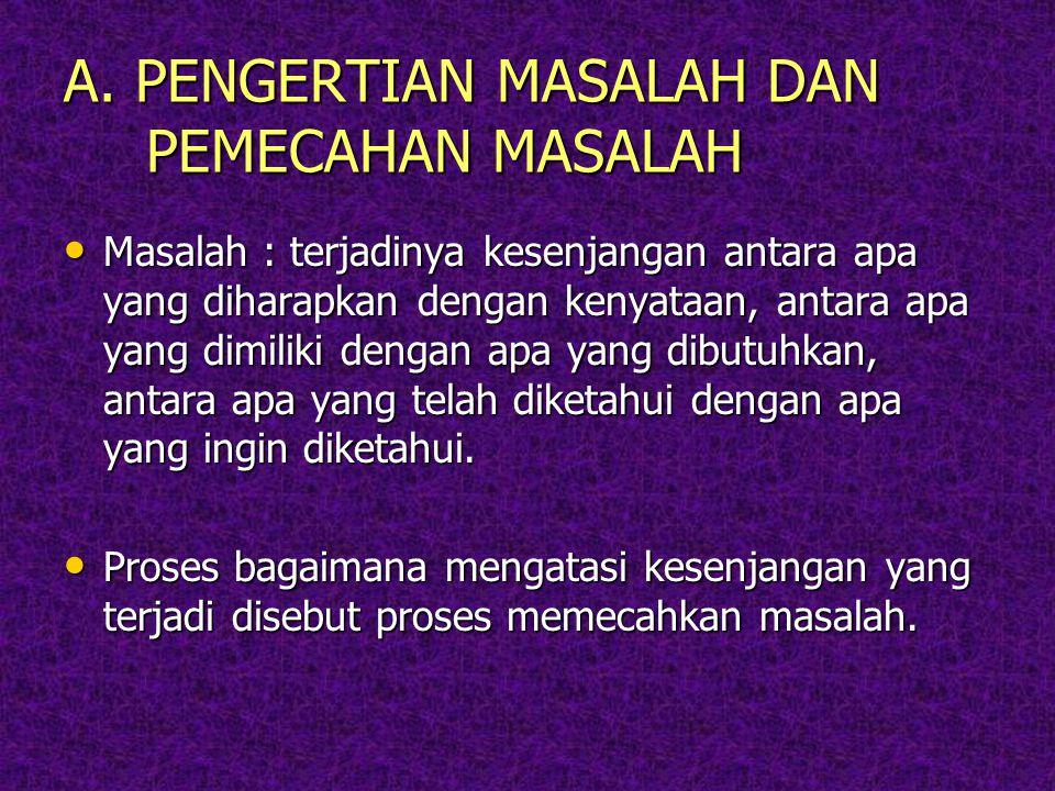 A. PENGERTIAN MASALAH DAN PEMECAHAN MASALAH