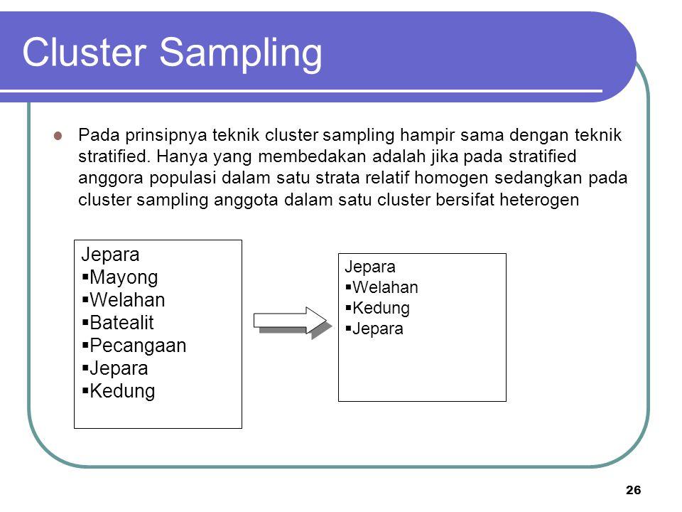Cluster Sampling Jepara Mayong Welahan Batealit Pecangaan Kedung