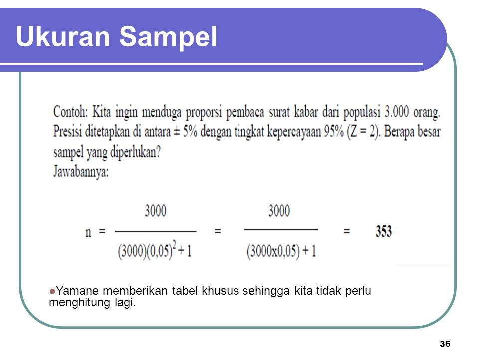 Ukuran Sampel Yamane memberikan tabel khusus sehingga kita tidak perlu menghitung lagi.