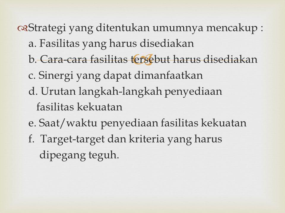 Strategi yang ditentukan umumnya mencakup :