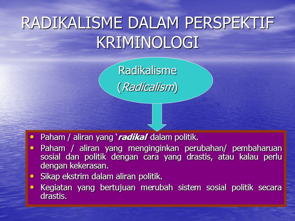 RADIKALISME DALAM PERSPEKTIF KRIMINOLOGI