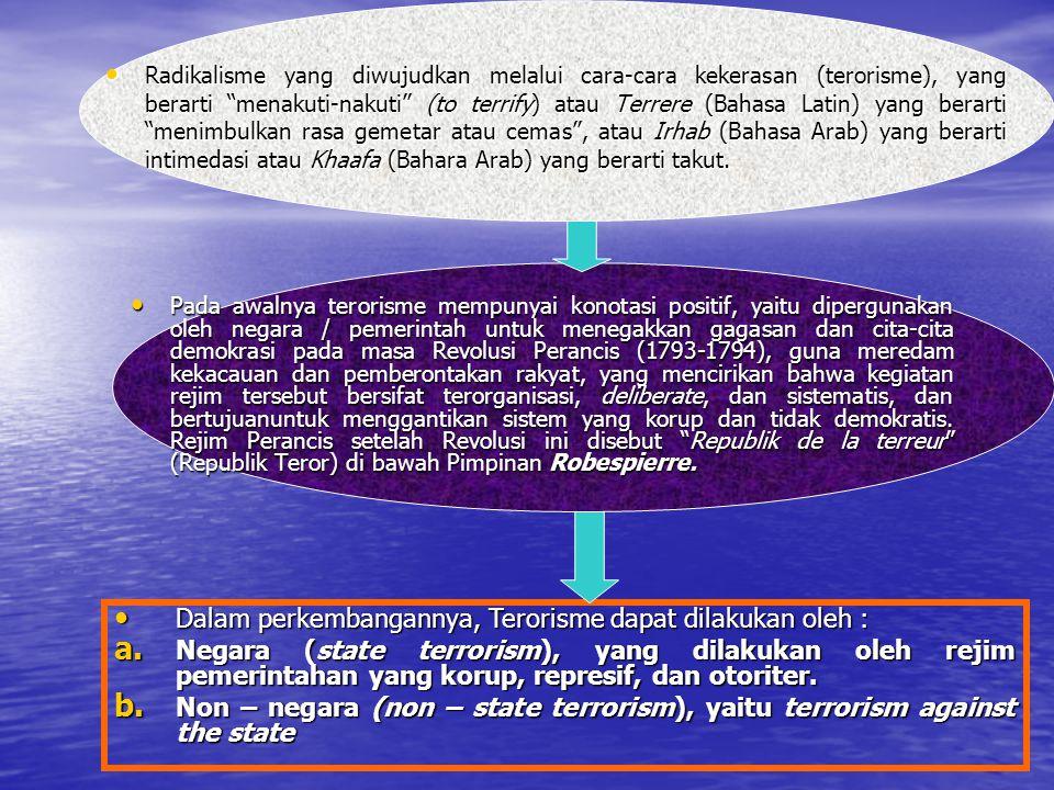 Dalam perkembangannya, Terorisme dapat dilakukan oleh :