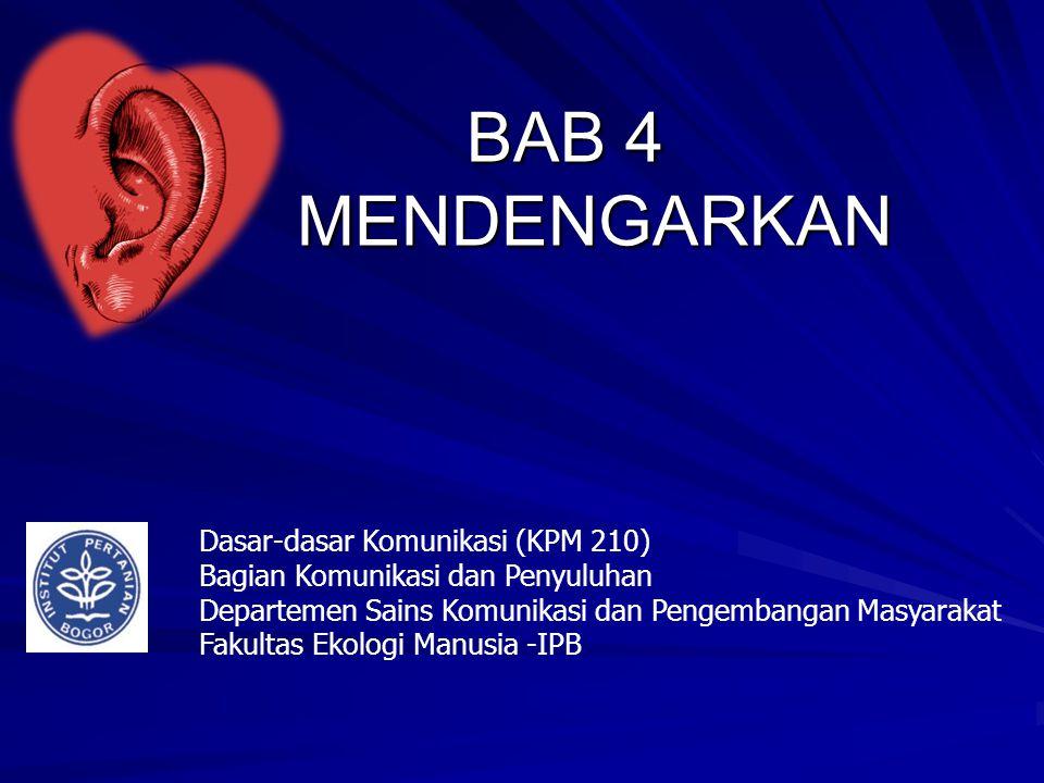 BAB 4 MENDENGARKAN Dasar-dasar Komunikasi (KPM 210)