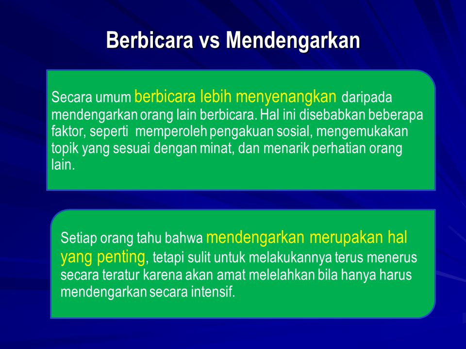 Berbicara vs Mendengarkan