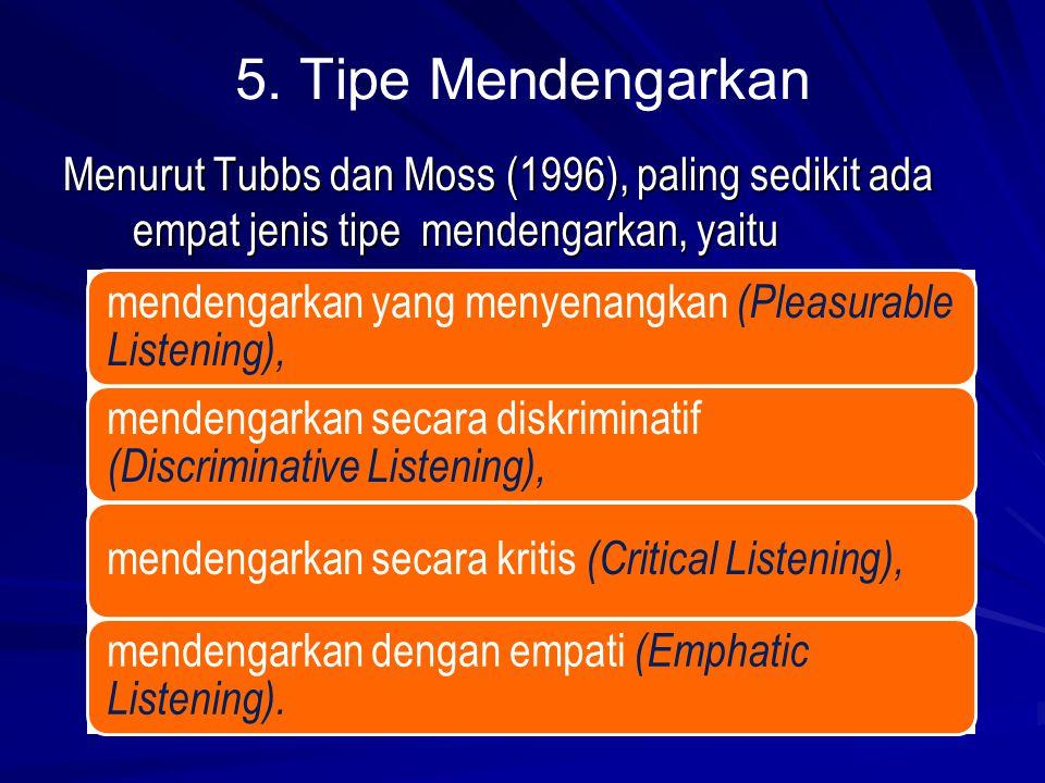5. Tipe Mendengarkan Menurut Tubbs dan Moss (1996), paling sedikit ada empat jenis tipe mendengarkan, yaitu.