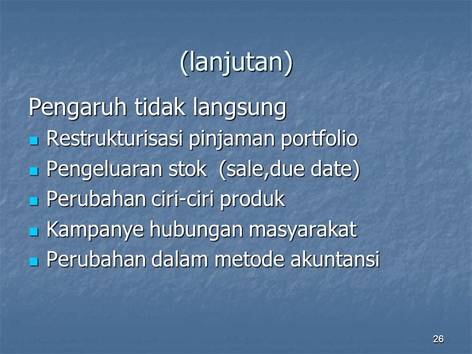(lanjutan) Pengaruh tidak langsung Restrukturisasi pinjaman portfolio
