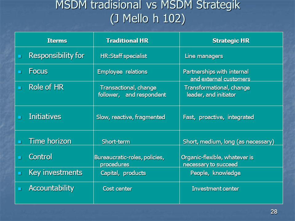 MSDM tradisional vs MSDM Strategik (J Mello h 102)