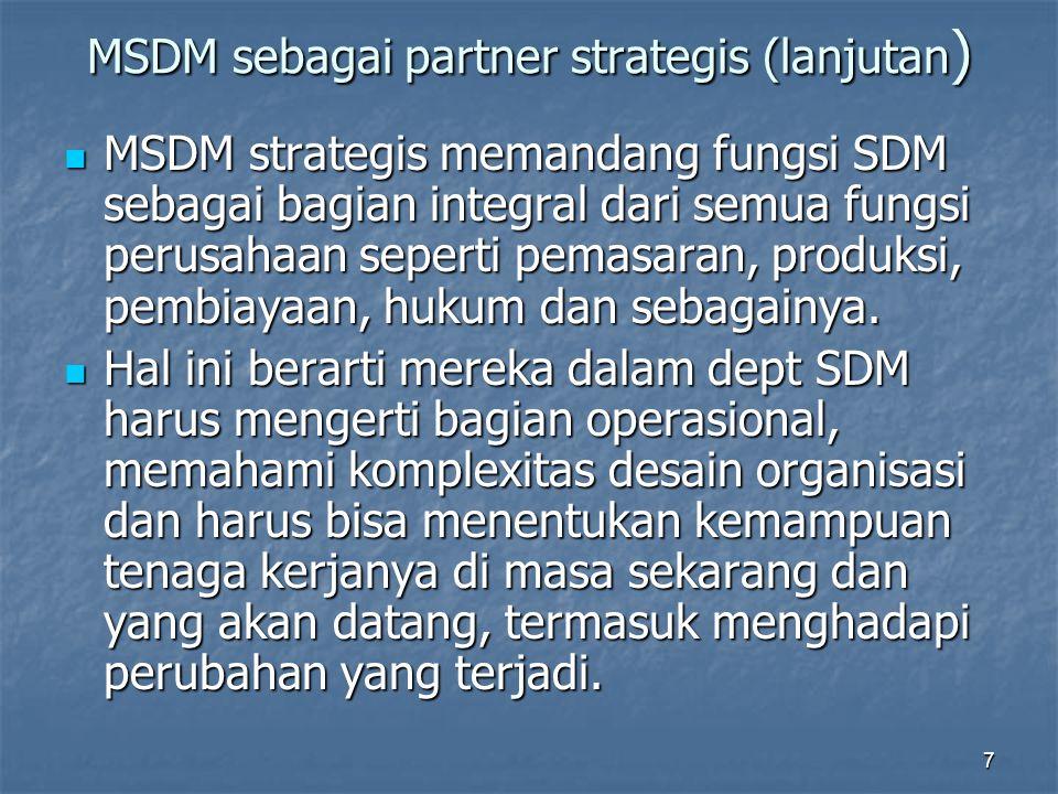 MSDM sebagai partner strategis (lanjutan)