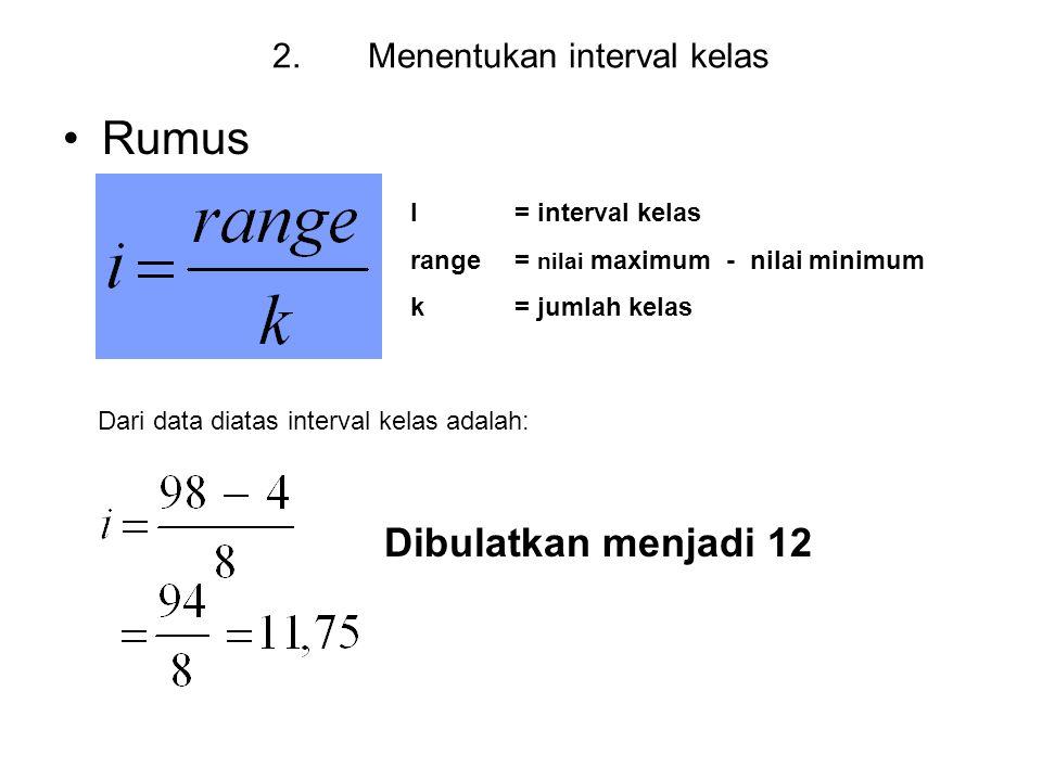 Menentukan interval kelas