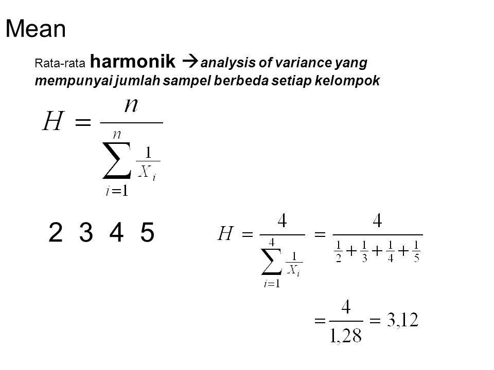 Mean Rata-rata harmonik analysis of variance yang mempunyai jumlah sampel berbeda setiap kelompok.