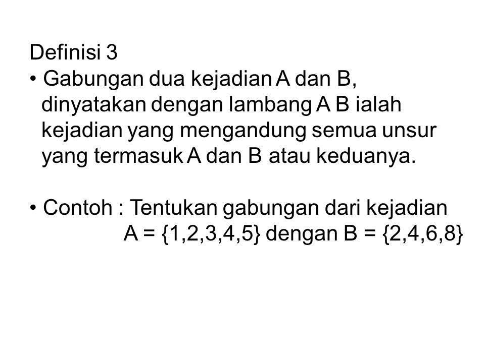 Definisi 3 • Gabungan dua kejadian A dan B, dinyatakan dengan lambang A B ialah. kejadian yang mengandung semua unsur.