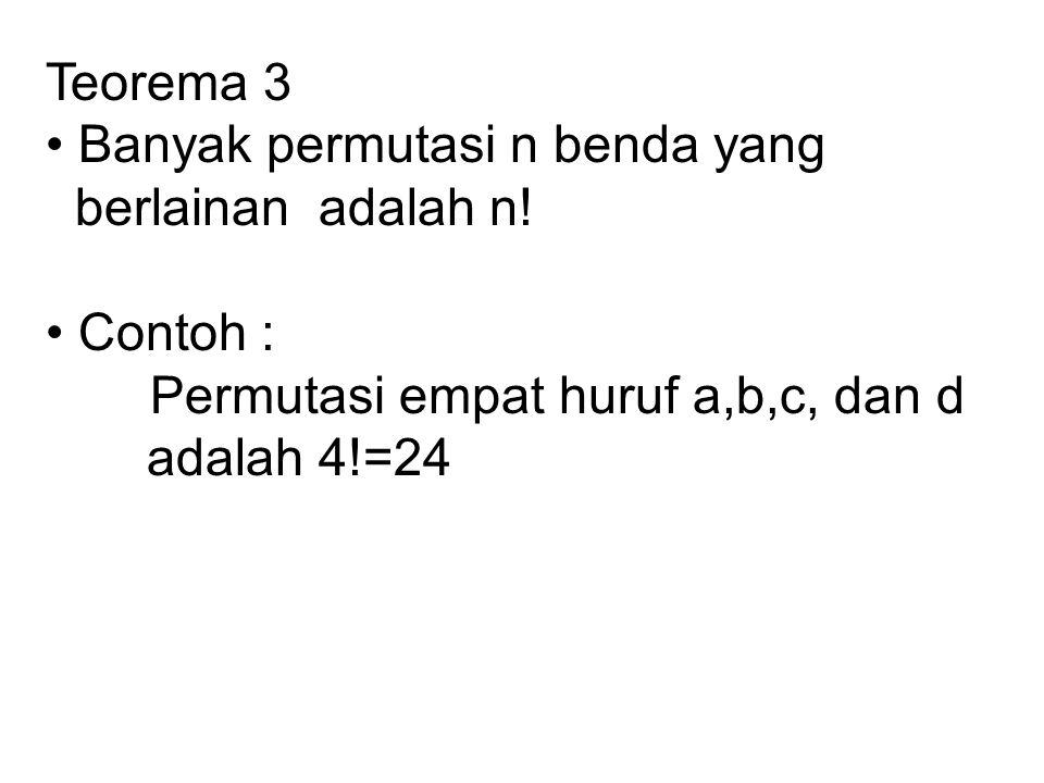 Teorema 3 • Banyak permutasi n benda yang. berlainan adalah n! • Contoh : Permutasi empat huruf a,b,c, dan d.