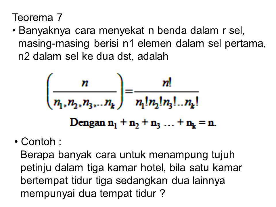 Teorema 7 • Banyaknya cara menyekat n benda dalam r sel, masing-masing berisi n1 elemen dalam sel pertama,