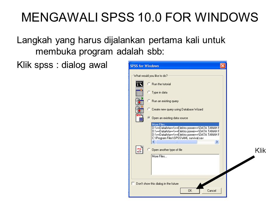 MENGAWALI SPSS 10.0 FOR WINDOWS