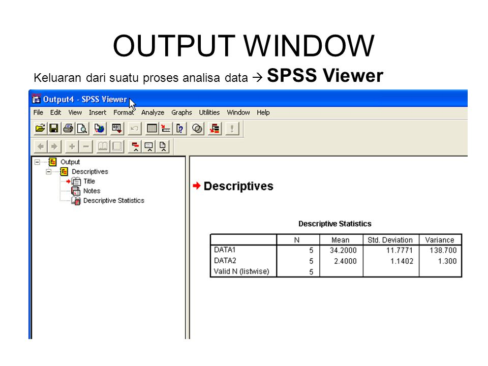OUTPUT WINDOW Keluaran dari suatu proses analisa data  SPSS Viewer