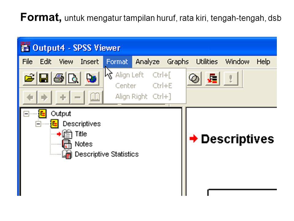 Format, untuk mengatur tampilan huruf, rata kiri, tengah-tengah, dsb