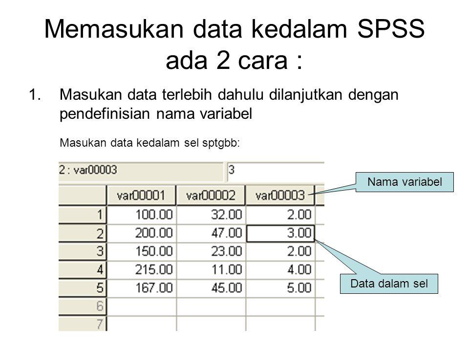 Memasukan data kedalam SPSS ada 2 cara :