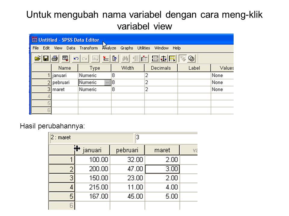 Untuk mengubah nama variabel dengan cara meng-klik variabel view