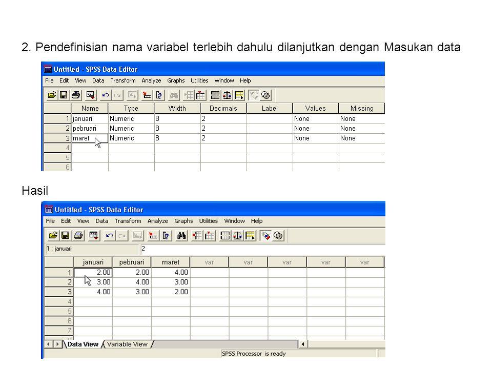 2. Pendefinisian nama variabel terlebih dahulu dilanjutkan dengan Masukan data