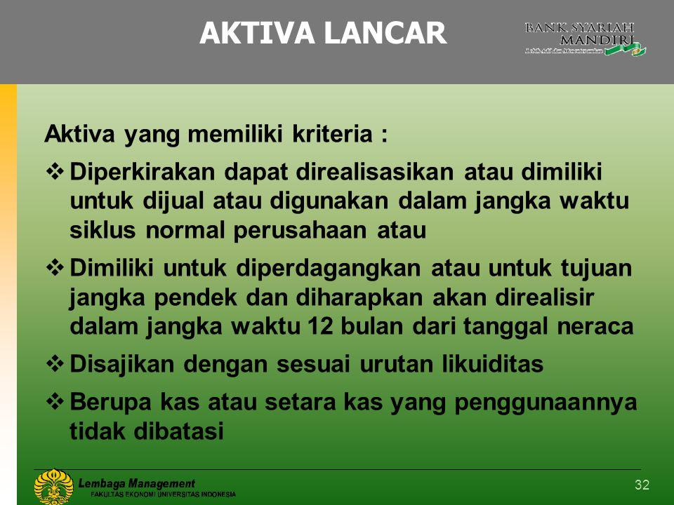 AKTIVA LANCAR Aktiva yang memiliki kriteria :