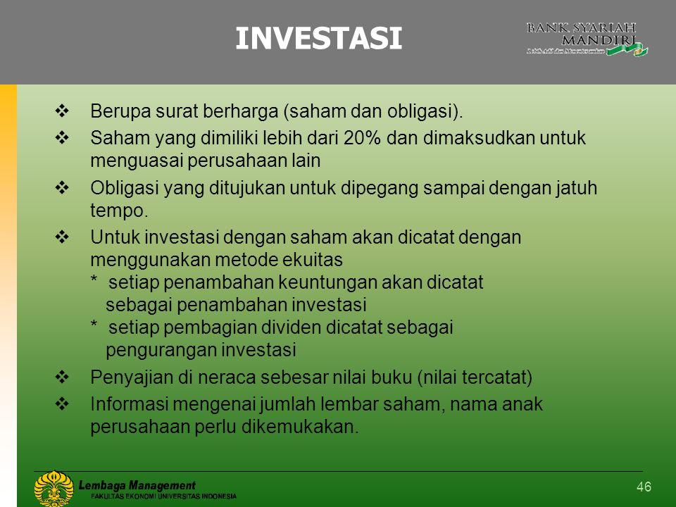 INVESTASI Berupa surat berharga (saham dan obligasi).