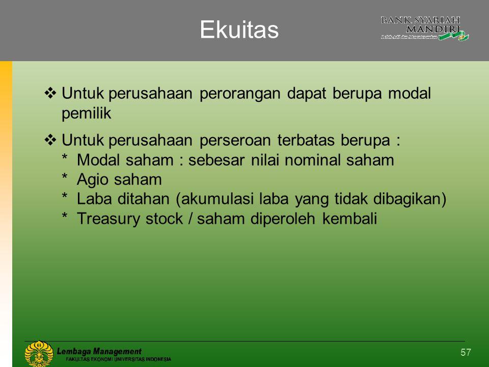 Ekuitas Untuk perusahaan perorangan dapat berupa modal pemilik
