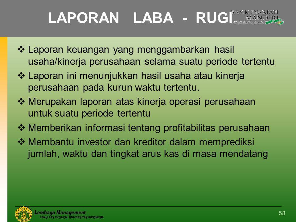 LAPORAN LABA - RUGI Laporan keuangan yang menggambarkan hasil usaha/kinerja perusahaan selama suatu periode tertentu.