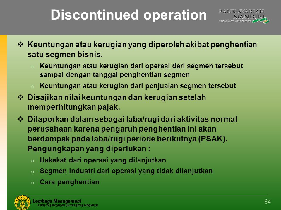 Discontinued operation