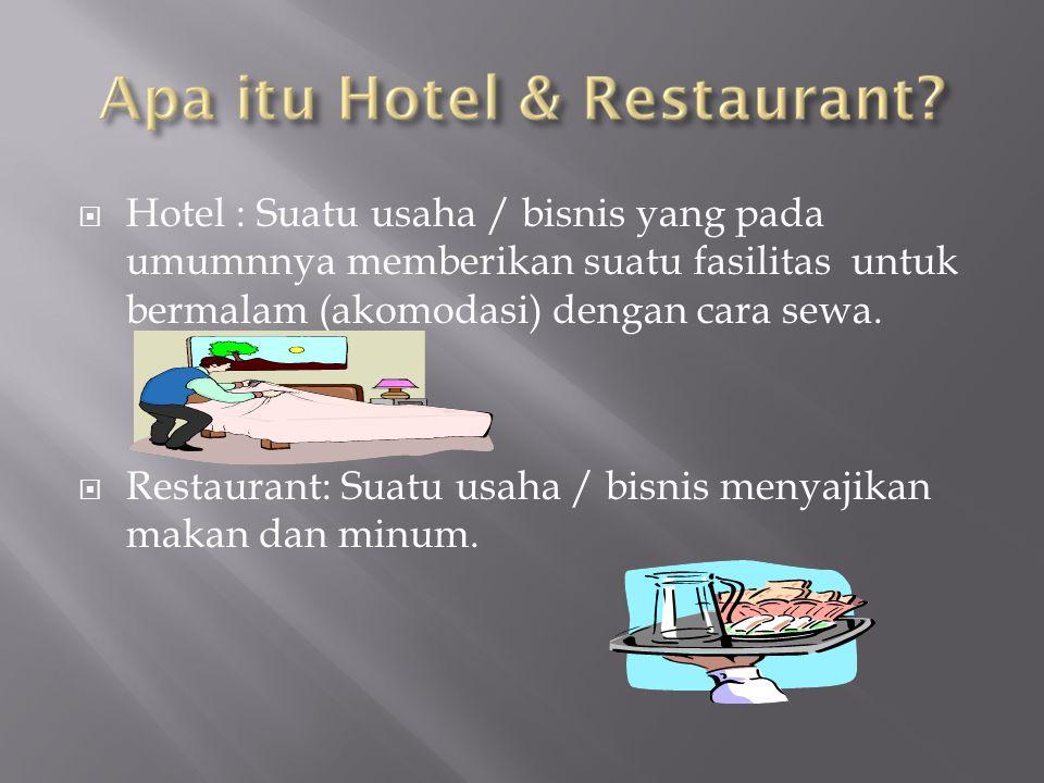 Hotel : Suatu usaha / bisnis yang pada umumnnya memberikan suatu fasilitas untuk bermalam (akomodasi) dengan cara sewa.