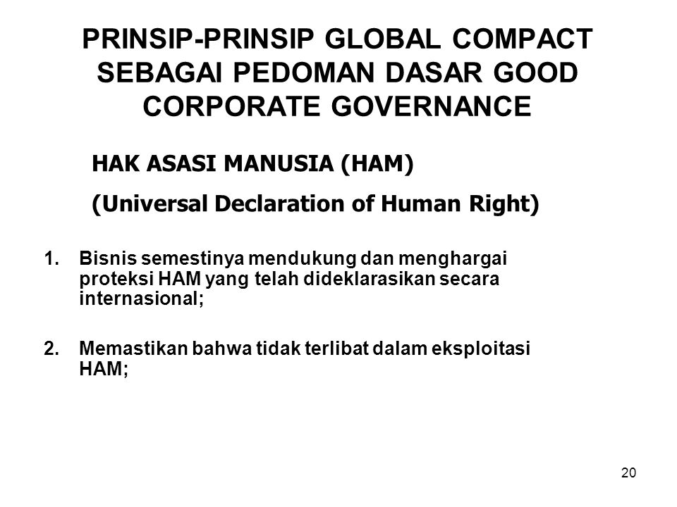 PRINSIP-PRINSIP GLOBAL COMPACT SEBAGAI PEDOMAN DASAR GOOD CORPORATE GOVERNANCE