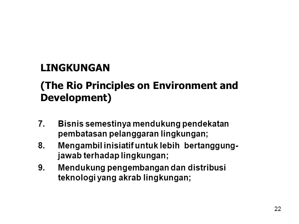 (The Rio Principles on Environment and Development)