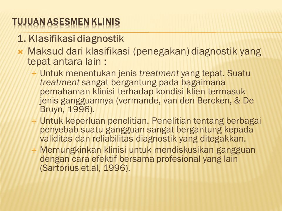 1. Klasifikasi diagnostik