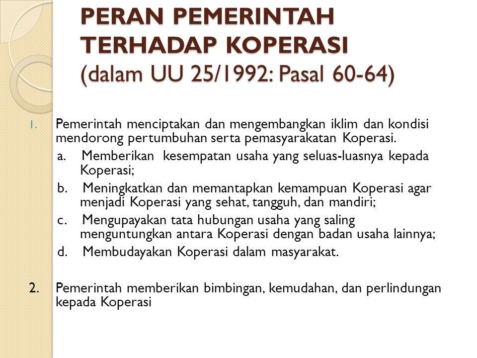 PERAN PEMERINTAH TERHADAP KOPERASI (dalam UU 25/1992: Pasal 60-64)