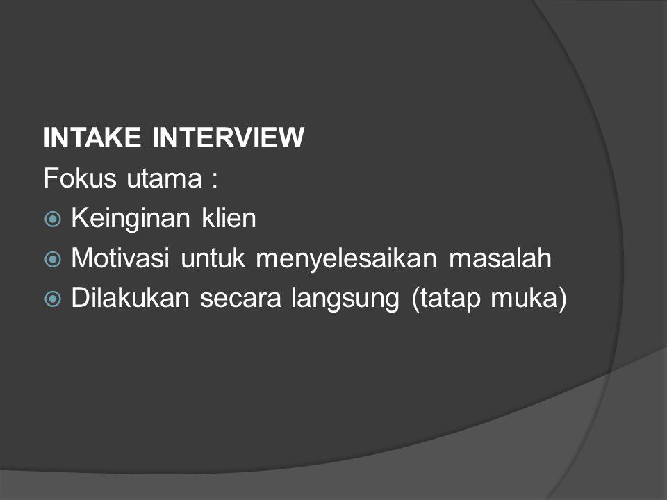 INTAKE INTERVIEW Fokus utama : Keinginan klien. Motivasi untuk menyelesaikan masalah.