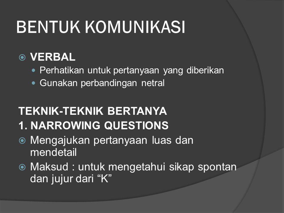 BENTUK KOMUNIKASI VERBAL TEKNIK-TEKNIK BERTANYA 1. NARROWING QUESTIONS