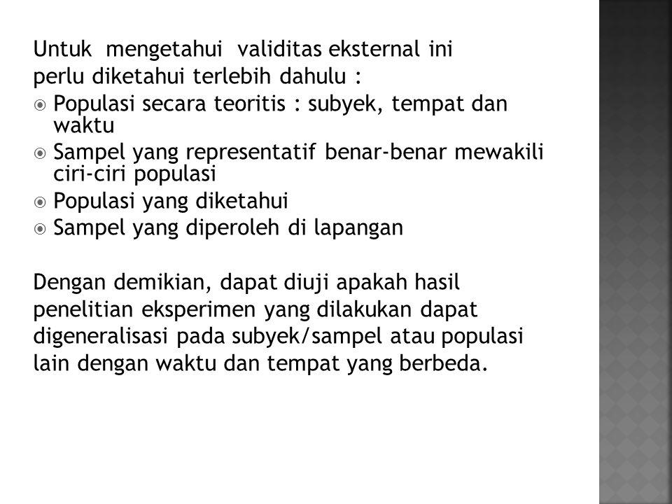 Untuk mengetahui validitas eksternal ini