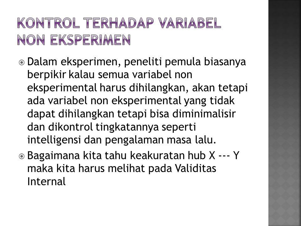 Kontrol Terhadap variabel non eksperimen