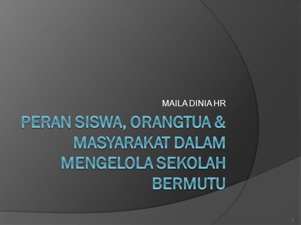 PERAN SISWA, ORANGTUA & MASYARAKAT DALAM MENGELOLA SEKOLAH BERMUTU