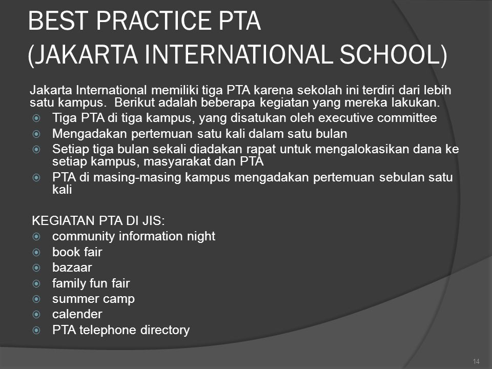 BEST PRACTICE PTA (JAKARTA INTERNATIONAL SCHOOL)