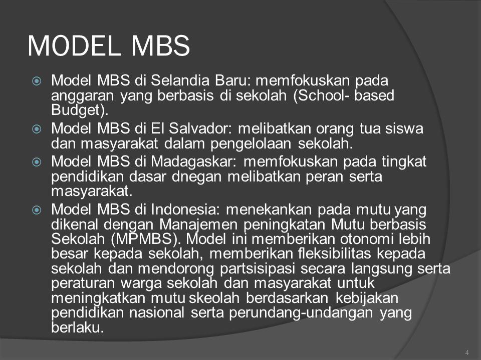MODEL MBS Model MBS di Selandia Baru: memfokuskan pada anggaran yang berbasis di sekolah (School- based Budget).