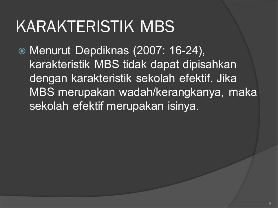 KARAKTERISTIK MBS