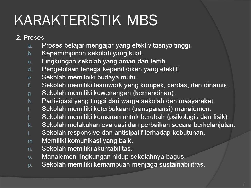 KARAKTERISTIK MBS 2. Proses