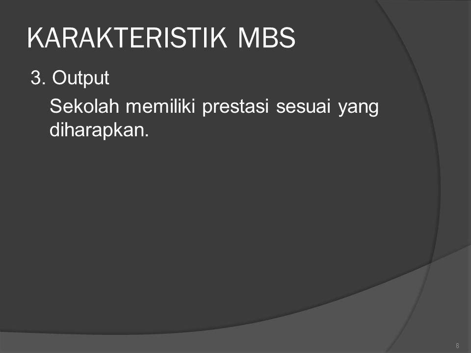 KARAKTERISTIK MBS 3. Output Sekolah memiliki prestasi sesuai yang diharapkan.